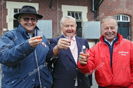 , Chantilly, France, Trainer Criquette Head-Maarek celebrates the victory of Treve with Alec Head (middle) and Freddy Head.