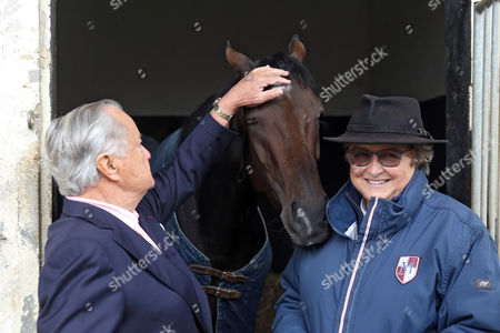 , Chantilly, France, A portrait of Treve with Trainer Criquette Head-Maarek and Alec Head (left) the day after winning the Prix de l'Arc de Triomphe twice.
