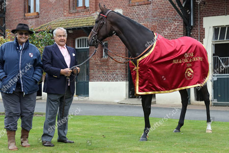 , Chantilly, France, A portrait of Treve with Trainer Criquette Head-Maarek and Alec Head the day after winning the Prix de l'Arc de Triomphe twice.