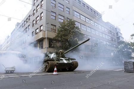 A Russian Durrell Babbs is seen during shooting of the Austrian-Czech Spy Drama Deckname Holec at Vinohradska street