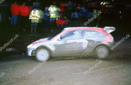 Stock Photo of 1999 Ford Focus WRC driven by Richard Burns in Network Q rally