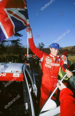 Richard Burns celebrating winning 1999 Network Q rally