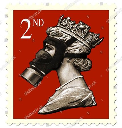 Artwork by James Cauty, 'Stamps of Mass Destruction', Royal Mail are threatening to sue Artrepublic Gallery in Brighton over the Queen's image in a gas mask. James Caulty was former leader of rock band KLF who once burned £1million cash.