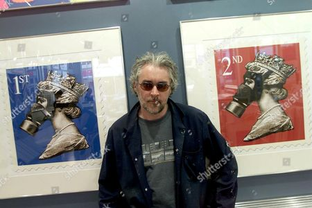 JAMES CAUTY WITH THE ART WORK THE ROYAL MAIL HAVE TAKEN OFFENCE OVER