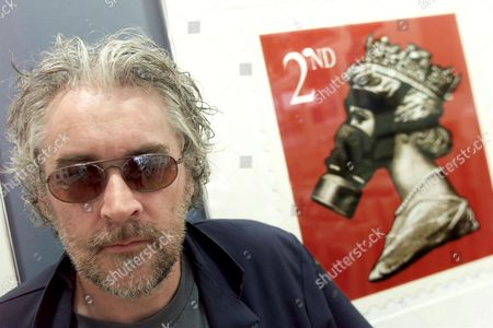 ARTIST JAMES CAUTY WITH THE ART WORK THE ROYAL MAIL HAVE TAKEN OFFENCE OVER, WHICH IS ON SALE IN BRIGHTONS ART REPUBLIC GALLERY. CAUTY WAS IN THE CULT BAND KLF