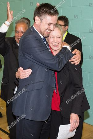 The count at the Heywood and Middleton by-election - Labour candidate Liz McInnes hugs a member of her team as the result is declared