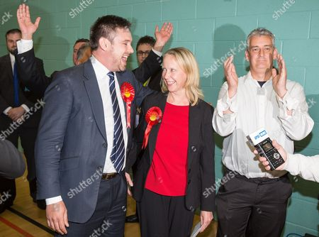 The count at the Heywood and Middleton by-election - Labour candidate Liz McInnes and her team cheer as the result is declared