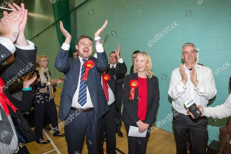 The count at the Heywood and Middleton by-election - Labour candidate Liz McInnes with her cheering team as the result is declared.