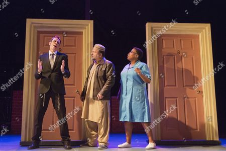 L-R: Steven Serlin as Rabbi, Kev Orkian as Mahmoud and Melanie Marshall as Zadie