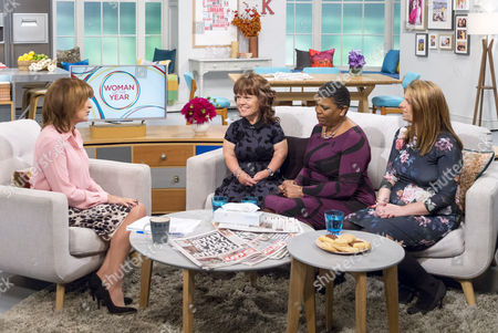 Presenter Lorraine Kelly with Sam Davis, Tracey Ford and Joanne Thompson