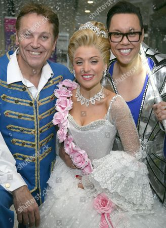 Brian Conley as Buttons, Kathryn Rooney as Cinderella and Gok Wan as the Fairy Gokmother