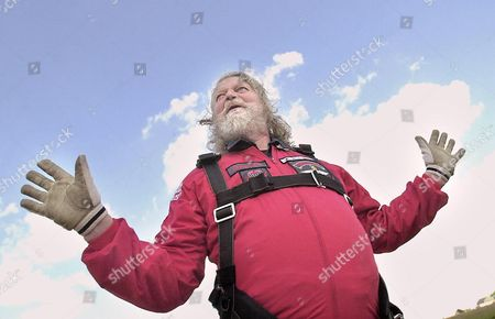 A relieved Lord Bath (71) after his leap from 13,000 feet with the Red Devils