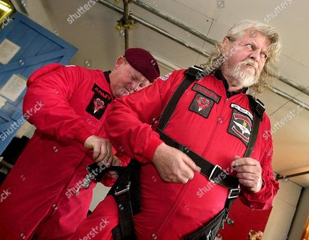 A nervous Lord Bath before his leap from 13,000 feet with the Red Devils