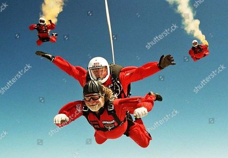 Lord Bath parachuting from 13,000 feet over Wiltshire