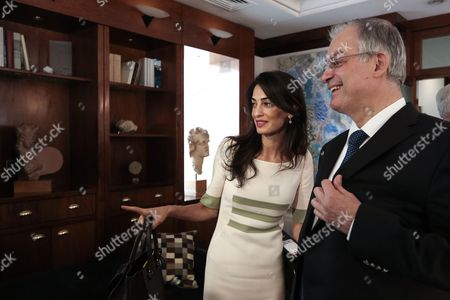 Amal Clooney with Greek Culture Minister Kostas Tasoulas