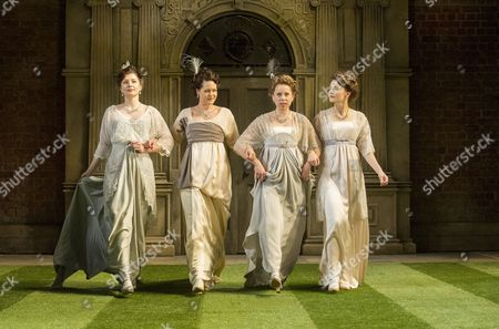 Stock Picture of Frances McNamee as Maria, Flora Spencer-Longhurst as Katherine, Michelle Terry as Rosaline, Leah Whitaker as Princess fo France