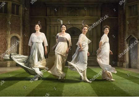 Stock Image of Frances McNamee as Maria, Flora Spencer-Longhurst as Katherine, Michelle Terry as Rosaline, Leah Whitaker as Princess fo France