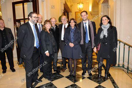 Stock Image of Robert Ejnes, Veronique Harari, Yves Threard, Pierre Aidenbaum, Anne Hidalgo, Yonathan Arfi and Karen Taieb