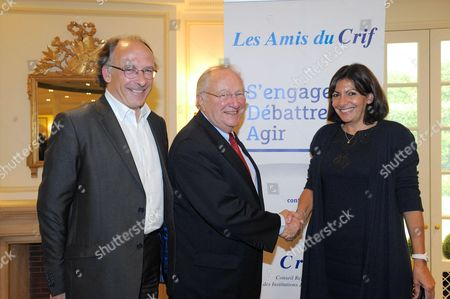 Stock Picture of Yves Threard, Anne Hidalgo and Roger Cukierman