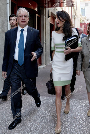 Amal Clooney and Greek Culture Minister Konstantinos Tasoulas