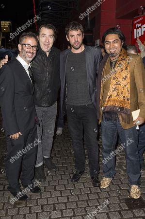 Stock Photo of David Baddiel, Jonathan Ross, Erran Baron Cohen and Arvind Ethan David