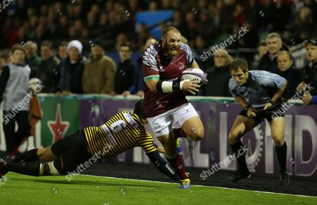 Falcons hooker, Rob Hawkins sprints down the wing during the second half at Kingston Park.