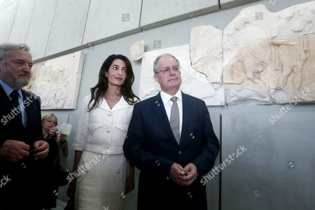 Amal Clooney with Greek minister for culture Kostas Tasoulas