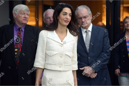 Amal Clooney with Geoffrey Robertson and Culture Minister Kostas Tasoulas