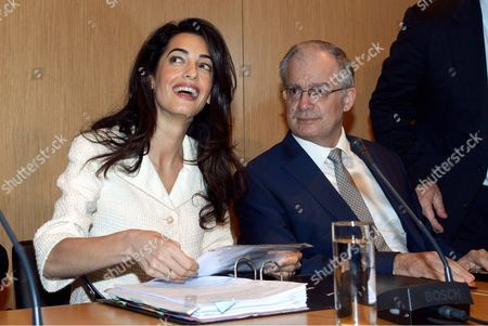 Amal Clooney with Culture Minister Kostas Tasoulas