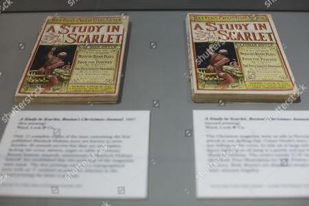 An original copy of 'A Study In Scarlet' novel written by Sir Arthur Conan Doyle in 1887 introducing the character Sherlock Holmes and Dr. John Watson.
