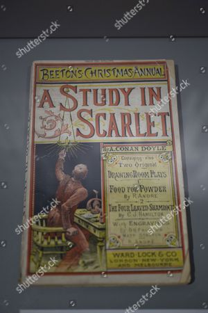 An original copy of 'A Study In Scarlet' novel written by Sir Arthur Conan Doyle in 1887 introducing the character Sherlock Holmes and Dr. John Watson