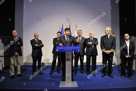 Stock Image of French Deputy and deputy mayor of Nice, Rudy Salles, French Deputy and President of the Department Council of the 'Alpes Maritimes', Eric Ciotti, French Deputy and mayor of Nice, Christian Estrosi, French Minister for Urban Affairs, Sports and Youth Patrick Kanner, French Secretary of State for Sport, Patrick Braillard, President of region Provence Alpes Cote d'Azur (PACA) Michel Vauzelle, and the Alpes-Maritimes Prefect, Adolphe Colrat and General Director of the museum, Maris Christine Grasse