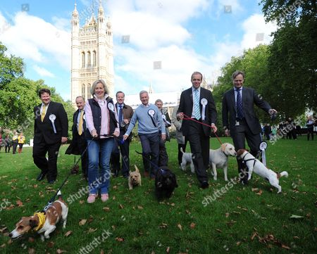 Stock Photo of Westminster Dog Of The Year In Victoria Tower Gardens Outside The House Of Lords. Mps Bring Their Dogs To Compete For Westminster Dog Of The Year Held By The Dog Trust. Pictured: (l-r) Alex Shelbrooke Conservative Mp For Elmet And Rothwell With His Dog Maggie Laurence Robertson Conservative Mp For Tewkesbury And His Dog Sausage Eric Joyce Independent Mp For Falkirk And His Dog Brodie Tessa Munt Liberal Democrat Mp For Wells And Her Dog Poppy Charlie Elphicke With His Dog Star Last Years Winner Alan Duncan Conservative Mp For Rutland And Merton With His Dog Noodle John Randall Conservative Mp For Uxbridge And South Ruislip With His Dog Mortimer David Burrowes Conservative Mp For Enfield Southgate And His Dog Cholmeley Who Went On To Place Third In The Competition And Matthew Offord Conservative Mp For Hendon And His Dog Maximus.