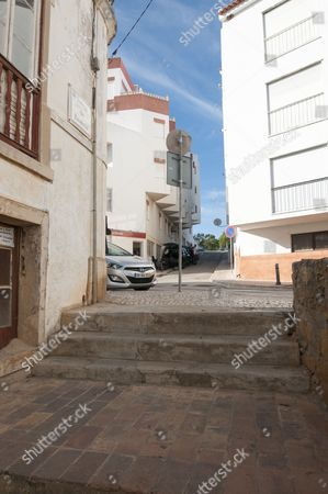 Editorial photo of Street In Praia Da Luz Where Irish Holiday Makers Martin Smith And His Wife Claim They Saw A Mystery Person With A Child About The Same Time As Madeleine Mccann Disappeared In May 2007. Picture David Parker 14.10.13 Reporter Neil Sears And Rebecca Ca