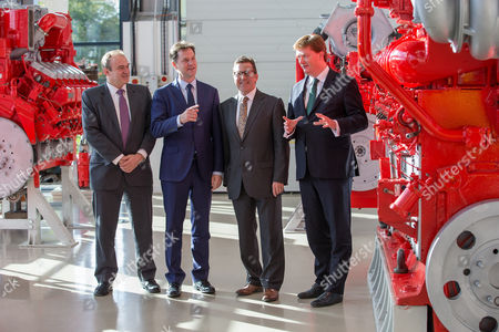 Ed Davey, Nick Clegg, Mark Hunter and Danny Alexander at the MAN Diesel factory in Stockport