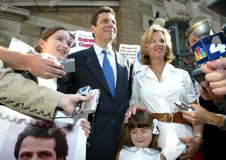 Stock Picture of Andrew Cuomo, his wife Kerry Kennedy Cuomo and 4 year old daughter Michaela Andrea Cuomo.