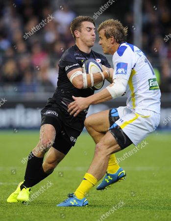 Chris Wyles of Saracens and Aurelien Rougerie of Clermont Auvergne
