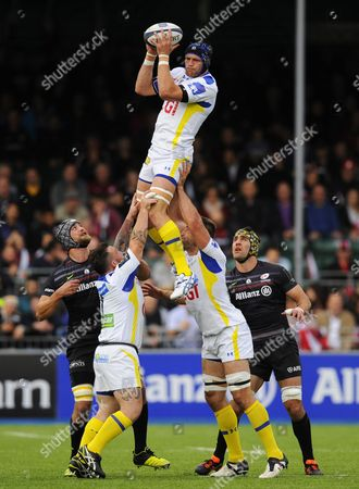 Julien Bonnaire of Clermont Auvergne gathers in the line-out ball
