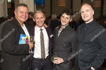 Anthony Drewe, George Stiles, Simon Wells and Peter McKintosh attend the after party on Press Night for Neville's Island at Villandry St James's, London, England on 21st October 2014. (Credit should read: Dan Wooller/wooller.com). Paid use only. No Syndication