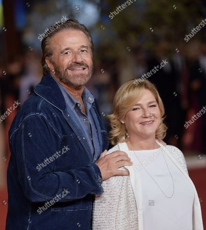 Stock Photo of Christian De Sica with wife Silvia Verdone