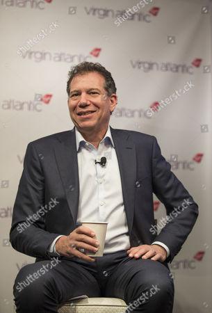 Virgin Atlantic Chief Executive Craig Kreeger speaks to the media in Atlanta, Georgia, following the inaugural 787 Dreamliner flight.