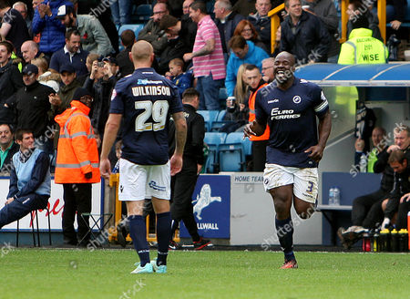 Danny Shittu celebrates scoring Millwall's winning goal.