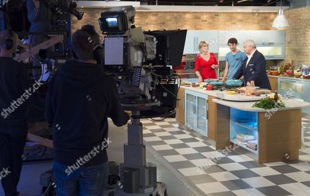 BTS, Studio, set, camera. Ruth Langsford, Jimmy Garcia and Eamonn Holmes