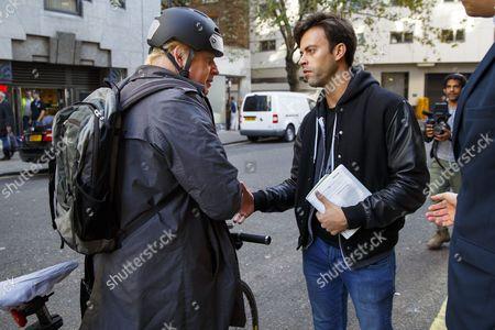 Mayor of London, Boris Johnson talking to Jolyon Rubinstein of 'The Revolution Will Be Televised' on his arrival