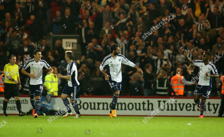 Georgios Samaras of West Bromwich Albion celebrates scoring his sides first goal.