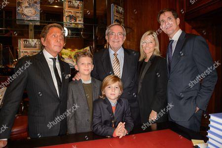Valentino, Prince Aristides-Stavros, Prince Odysseas-Kimon and King Constantine of Greece, Crown Princess Marie-Chantal of Greece and Crown Prince Pavlos of Greece