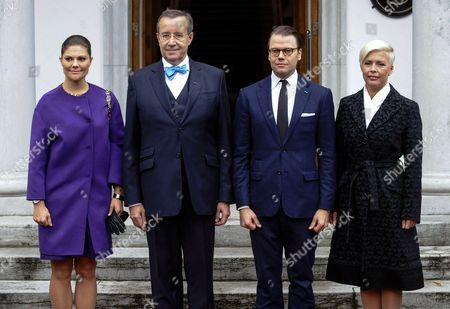 Stock Picture of Crown Princess Victoria, President Ilves, Prince Daniel and Evelin Ilves posing for official photo at the Presidental Palace