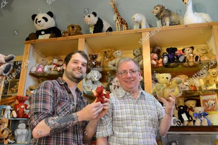 Teddy Bear artist Keith Hatton and Bears on the Square shop owner David Jackson (right) with locally British hand made bears.