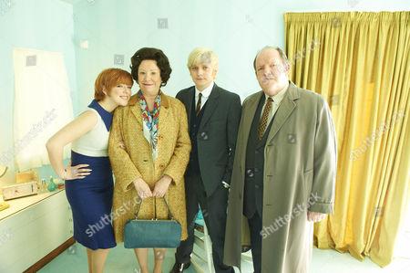Stock Picture of Sheridan Smith as Cilla Black , Melanie Hill (Big Cilla), Aneurin Barnard (Bobby Willis) and John Henshaw (John White)