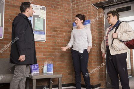 Reece Shearsmith as DS Sean Stone, Susan Lynch as Dr Ellesmere and Jordan Long as Colin Breen